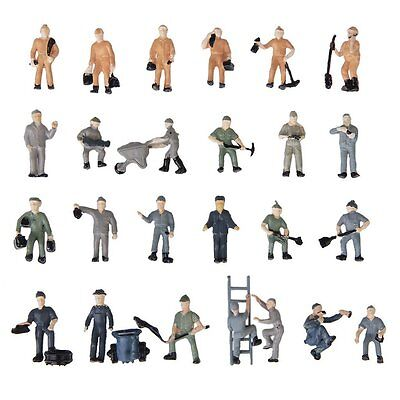 25pcs 1:87 Figurines Painted Figures Miniatures of Railway Workers Y4J8