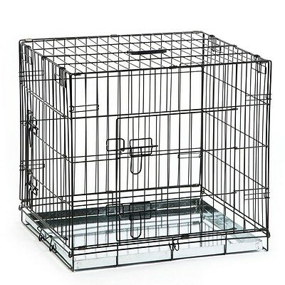 Beeztees Dog Cat Puppy Pet Metal Wire Cage Crate Carrier 63x55x61cm Black 715801