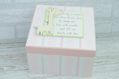 Pink And White Baby Keepsake Memory Box Giraffe A Baby Is A Miracle Large SG1287