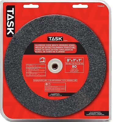 Task Tools T35845 8-Inch by 1-Inch Aluminum Oxide Bench Grinding Wheel 80 Gri...