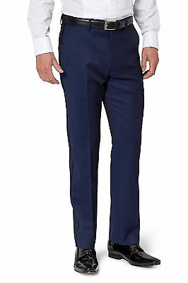 Moss 1851 Mens Blue Tuxedo Trousers Tailored Fit Flat Front Wool Suit Pants