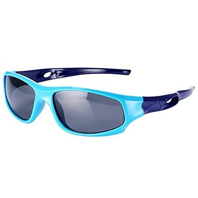 Kids Sports TPEE Rubber Sunglasses, Polarized Flexible Unbreakable, Bl Ages 3-10