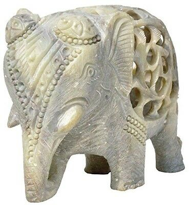 4 Inch Hand Carved Elephant Sculpture Good Wealth Animals Figurine Decor Gift