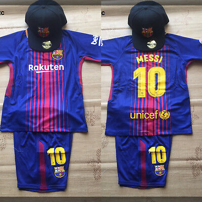 New 2018 Barcelona #10 Messi Home Color Set With Caps. (Express Post)