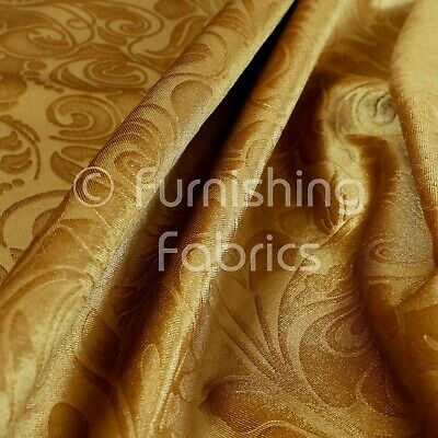 Quality Shiny Floral Embossed Gold Velvet Pattern Upholstery Furnishing Fabric