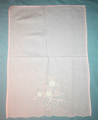 Vintage Pink Embroidered Tray Cloth