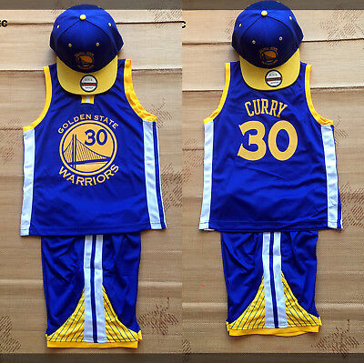 NBA KIDS BASKETBALL JERSEY #30 CURRY SETS BLUE COLOR WITH CAPS (Express post)