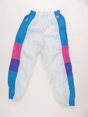 Vintage Retro 80S 90S Tracksuit Shell Suit Bottoms White Patterned Size 8