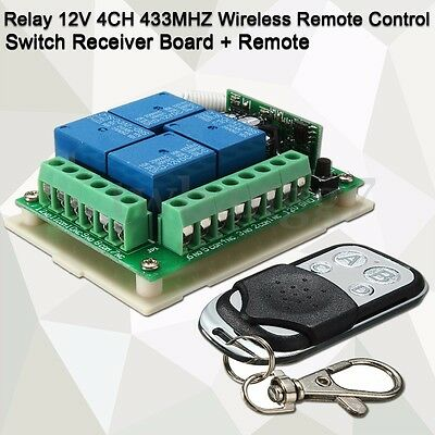 12V 4-CH 433MHZ Relay Wireless Remote Control Switch Receiver Board With Remote