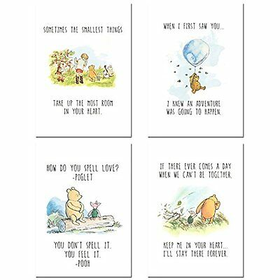 Winnie the Pooh Classic Art Prints - Set of 4 Wall Art Decor Photos Nursery 5x7