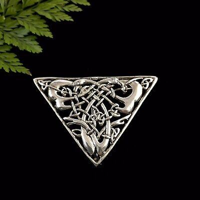 Unusual Triangular Vintage Silver Celtic Knot Two Birds Brooch Pin