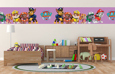 NEW Paw Patrol Pink STICKY BACK Border Self Adhesive Kids Boys Girl Bedroom 25