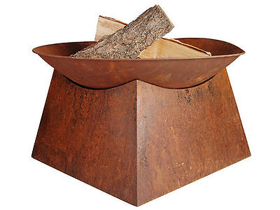1 rustic square base round firebowl with base 56.5cm 56.5cm 34cm