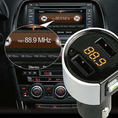 FM Transmitter Wireless In-Car Bluetooth Handsfree Car Kit Adapter USB Charger