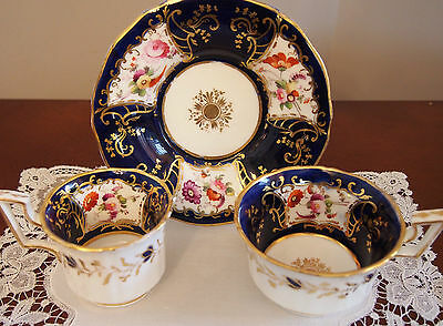 C 1825 Antique Coalport True Trio Old English Handle with Hand Painted Flowers