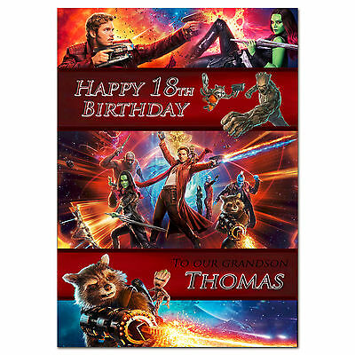 g233 Large special Personalised Birthday card; Guardians of the Galaxy