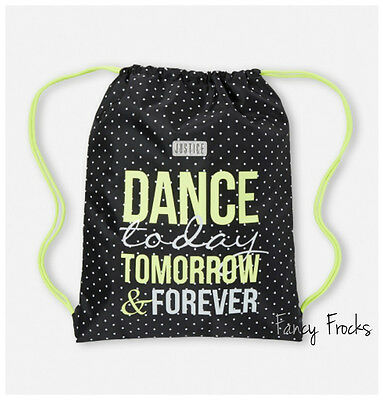 JUSTICE Girls Dance Forever Drawstring Tote Bag, NEW   Cinch Backpack