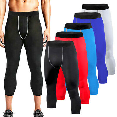 Mens Compression Tights 3/4 Pants Sports Trousers Gym Training Under Base Layer