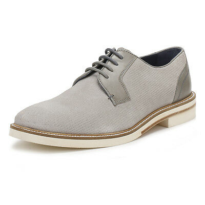 Ted Baker Mens Light Grey Siablo Derby Shoes, Perforated Suede, Contrast Sole