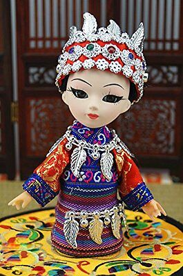 5''Handmade Mini Q Version Figurine Girl Chinese Ethnic Minority Miao Asian Doll