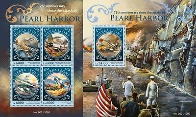 Z08 Imperforated SRL16202ab SIERRA LEONE 2016 Pearl Harbor MNH Set