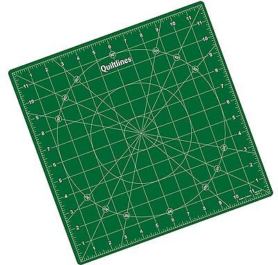 Rotating Cutting Mat 12 x 12 inch Green Self Healing by Quiltlines®