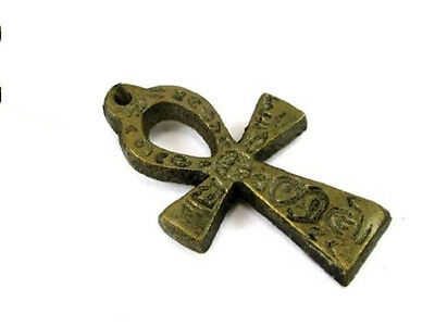 Ankh Pendant, 1 inch Antique Brass with Glyphs on Brown Cord Necklace #SHIP-24g