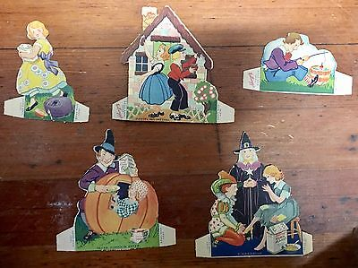 5 Vintage Kellogg's Cereal Paper Cut Outs Kids Stories, Miss Muffet Cinderella