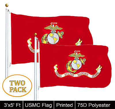 G128® TWO PACK of USMC United State Marine Corps Flag 3 X 5 With Brass