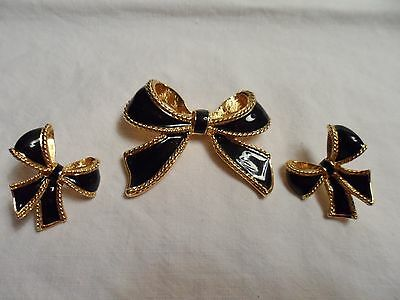 KJL Avon Goltone and Black Enamel Bow with Matching Post Earrings