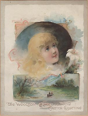 Victorian Trade Card-Lion Coffee-Woolson Spice Co of Toledo, OH-Boating-Easter
