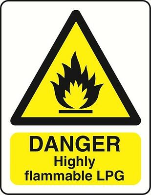 DANGER HIGHLY FLAMMABLE LPG - health and safety warning Sign - WARN151 sticker
