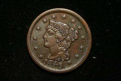 1846 Large Cent Penny, Braided Head,  US Coin ,  VERY FINE , Full Liberty!