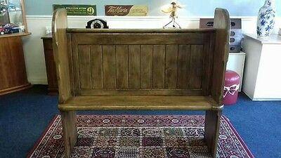 Victorian Pitch Pine Church Pew Settle Monks Bench