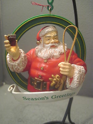 Coca Cola Christmas Ornament Santa With Glass Of Coke And Reindeer Whip