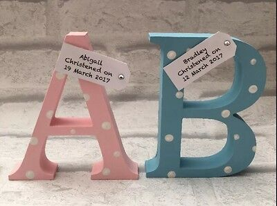 Personalised Wooden Letter for Christening/new baby/newborn Handmade gift