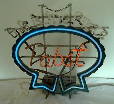 """Pabst This is the Place Neon Beer Advertising Sign - 22.5"""" x 22.5"""" -Needs Repair"""