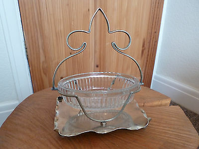 Fantastic Vintage/Antique Silver Plated French Stand & Glass Bowl-Art Deco Style