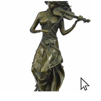 Musical Female Violin Player Art Nouveau Hot Cast Bronze Sculpture Statue Figu
