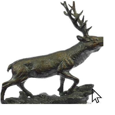 Handcrafted Bronze Marble Statue Caribou Buck Stag Lodge Sculpture Figure  E