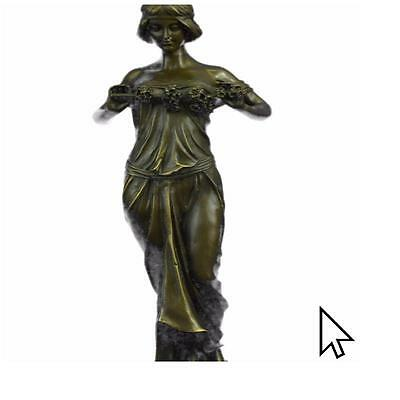 "Bronze Art Deco ""Nymph Of The Woods""Figurine Pittaluga Signed Nouveau Women"