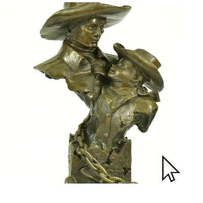 Art Deco Father And Child Bronze Statue Sculpture Father'S Day Gift Figurine Lrg