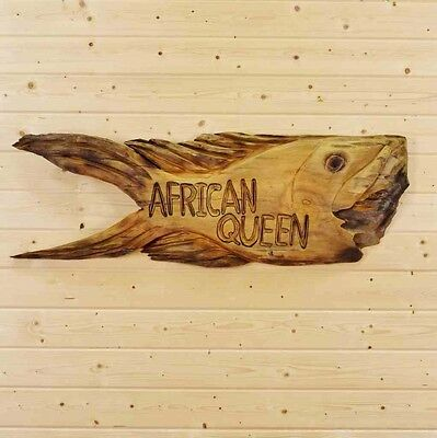 Hand Carved Wooden African Queen Sign - SW9048 - Safari Themed Decor