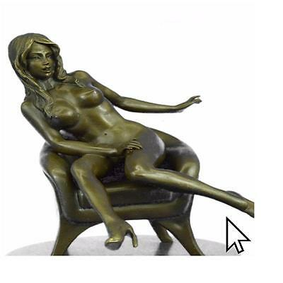Original Mavchi Nude Lady Bronze Sculpture Marble Base Hot Cast Figurine Gift