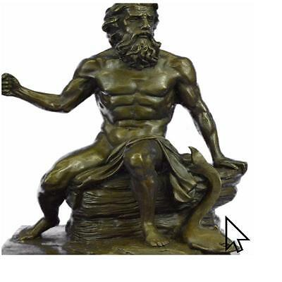 Signed Phidias Poseidon Greek Sea God Bronze Marble Base Figurine Hot Cast