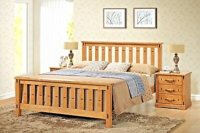 Lavish New Sofia Solid Wooden Bed Frame Finished In Honey Oak Double & King Size