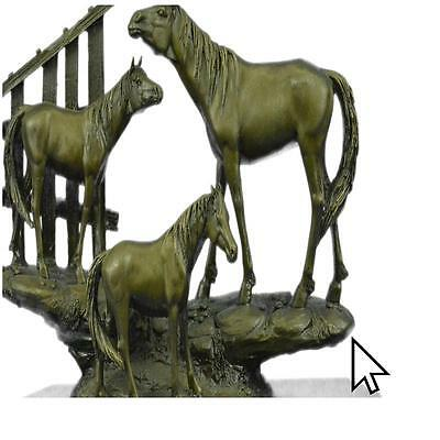 Thoroughbred Family Horses Equestrian Western Art Bronze Marble Statue Sculpture