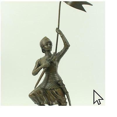 "23"" Tall French Joan Of Arc Bronze Marble Sculpture Statue Figure Figurine  E"