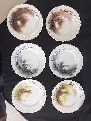 Carlsbad China Austria Set Of 6 Scallop Edge Plates Eerie Images 7 3/4""
