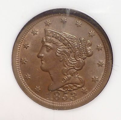 1853 Braided Hair Half Cent NGC MS64 BN                     H1008